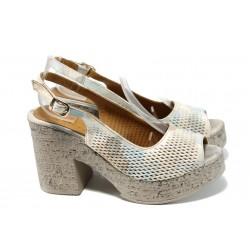 Анатомични дамски сандали на ток МИ 02-39 бежов | Дамски сандали на висок ток | MES.BG