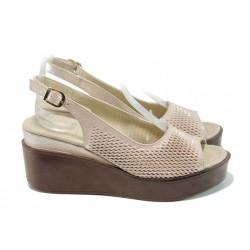 Анатомични дамски сандали МИ 02-585 розов | Дамски сандали на платформа | MES.BG