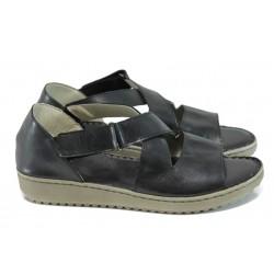 Български ортопедични сандали от естествена кожа ГР 4625-53 черен| Равни дамски сандали | MES.BG