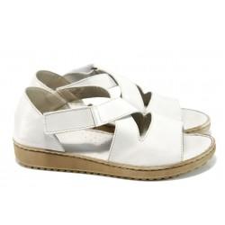 Български ортопедични сандали от естествена кожа ГР 4625-53 бял| Равни дамски сандали | MES.BG