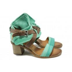 Анатомични български сандали от естествена кожа ИО 1664 зелен | Дамски сандали на ток | MES.BG
