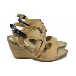Анатомични български сандали от естествена кожа ИО 1682 бежов | Дамски сандали на платформа | MES.BG