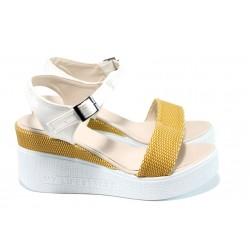 Дамски сандали на платформа МИ 100-753 жълт | Дамски сандали на ток | MES.BG