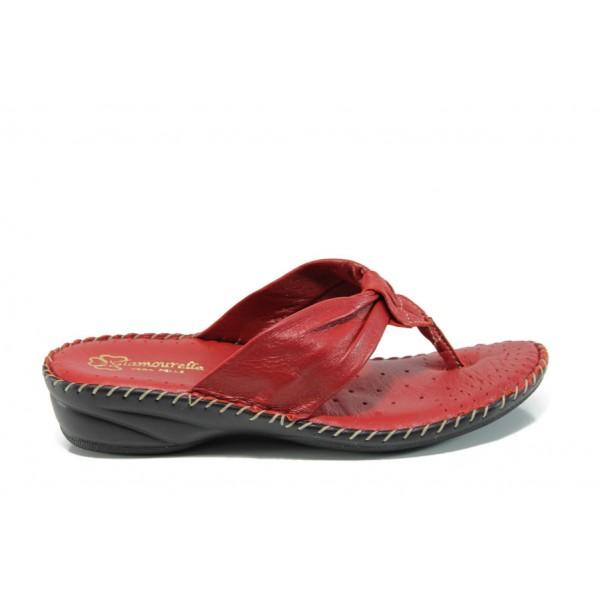 Анатомични български чехли от естествена кожа ГР 300043 червен | Дамски чехли | MES.BG