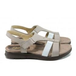 Анатомични дамски сандали от естествена кожа ГР 48002 таупе | Равни дамски сандали | MES.BG