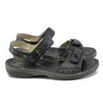 Анатомични български сандали от естествена кожа ГР 9012 черен | Равни дамски сандали | MES.BG