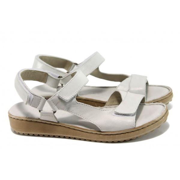 Дамски ортопедични сандали от естествена кожа ГР 4625-52 бял   Равни дамски сандали   MES.BG