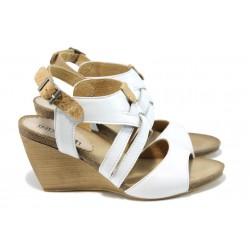 Анатомични български сандали от естествена кожа ИО 1682 бял | Дамски сандали на платформа | MES.BG