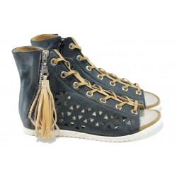Анатомични български сандали от естествена кожа ИО 1762 т.син | Равни дамски сандали | MES.BG