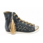 Анатомични български сандали от естествена кожа ИО 1762 т.син   Равни дамски сандали   MES.BG
