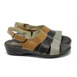 Български ортопедични сандали от естествена кожа ГР 300051 кафе | Равни дамски сандали | MES.BG