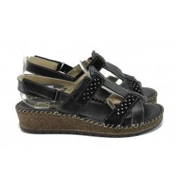 Български ортопедични сандали от естествена кожа ГР 42004 черен | Равни дамски сандали | MES.BG