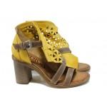 Анатомични дамски сандали от естествена кожа ИО 1757 жълт | Дамски сандали на ток | MES.BG