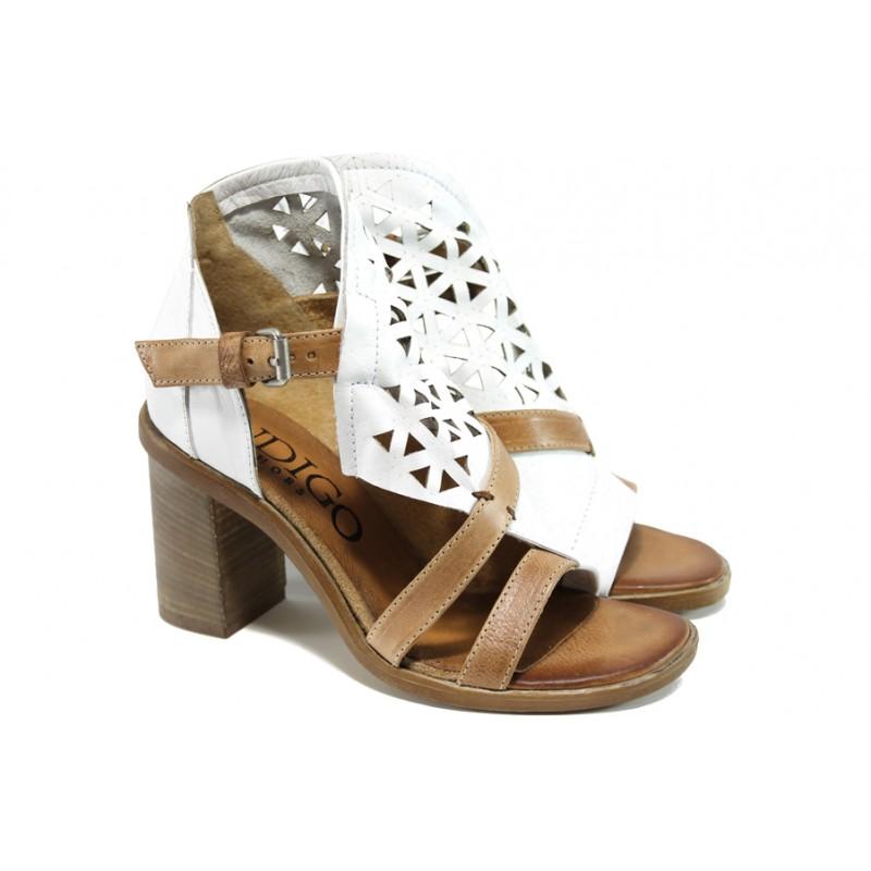 f1c0c06947f Анатомични български сандали от естествена кожа ИО 1757 бял   Дамски сандали  на ток   MES.