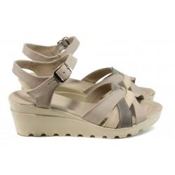 Анатомични сандали от естествена кожа НЛ 202-15431 бежов | Дамски сандали на платформа | MES.BG