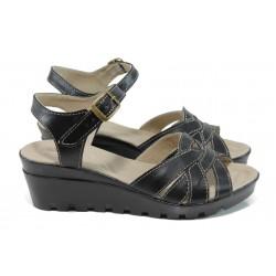 Анатомични български сандали от естествена кожа НЛ 202-15431 черен | Дамски сандали на платформа | MES.BG