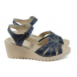 Анатомични български сандали от естествена кожа НЛ 202-1707 син | Дамски сандали на платформа | MES.BG