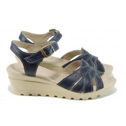 Анатомични български сандали от естествена кожа НЛ 202-15431 син | Дамски сандали на платформа | MES.BG