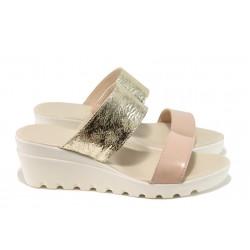 Анатомични дамски чехли от естествена кожа  ЕМИ 374 злато | Дамски чехли на платформа | MES.BG