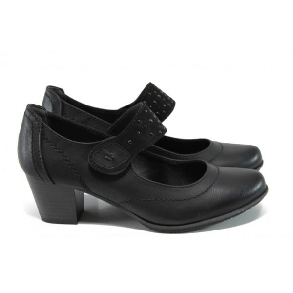 Дамски обувки на ток Jana 8-24366-29Н черен   Немски обувки на среден ток   MES.BG