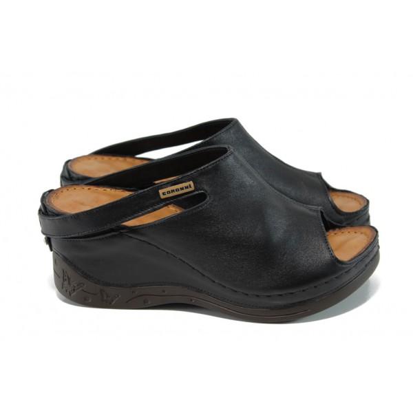 Анатомични дамски чехли /тип сабо/ от естествена кожа МИ 129 черен | Дамски чехли на платформа | MES.BG