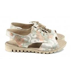 Анатомични дамски сандали от естествена кожа НЛ 266-16121 бежов | Равни дамски сандали | MES.BG