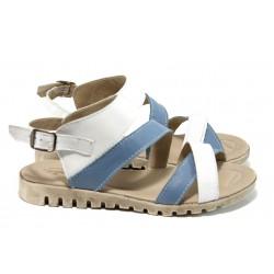 Български анатомични сандали от естествена кожа НЛ 269-16121 бял-син | Равни дамски сандали | MES.BG