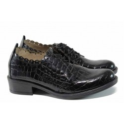 Анатомични дамски обувки от естествена кожа ЕМИ Валя/Bata черен кроко | Дамски обувки на среден ток | MES.BG