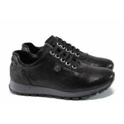 Анатомични дамски спортни обувки от естествена кожа МИ 1793 черен | Равни дамски обувки | MES.BG
