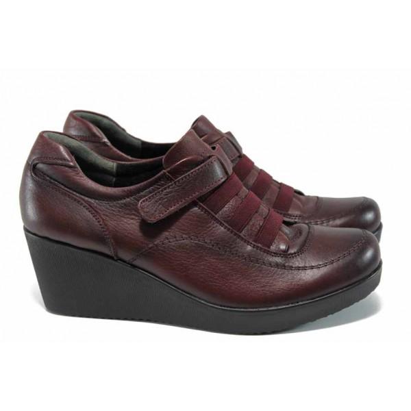 Дамски ортопедични обувки от естествена кожа МИ 614 бордо | Дамски обувки на платформа | MES.BG