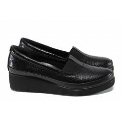 Дамски ортопедични обувки от естествена кожа МИ 637 черен | Дамски обувки на платформа | MES.BG