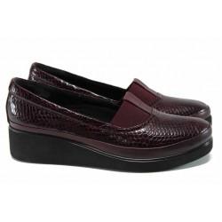 Дамски ортопедични обувки от естествена кожа МИ 637 бордо | Дамски обувки на платформа | MES.BG