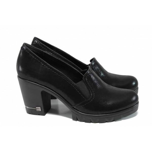 Дамски обувки от естествена кожа МИ 202-74 черен | Дамски обувки на висок ток | MES.BG