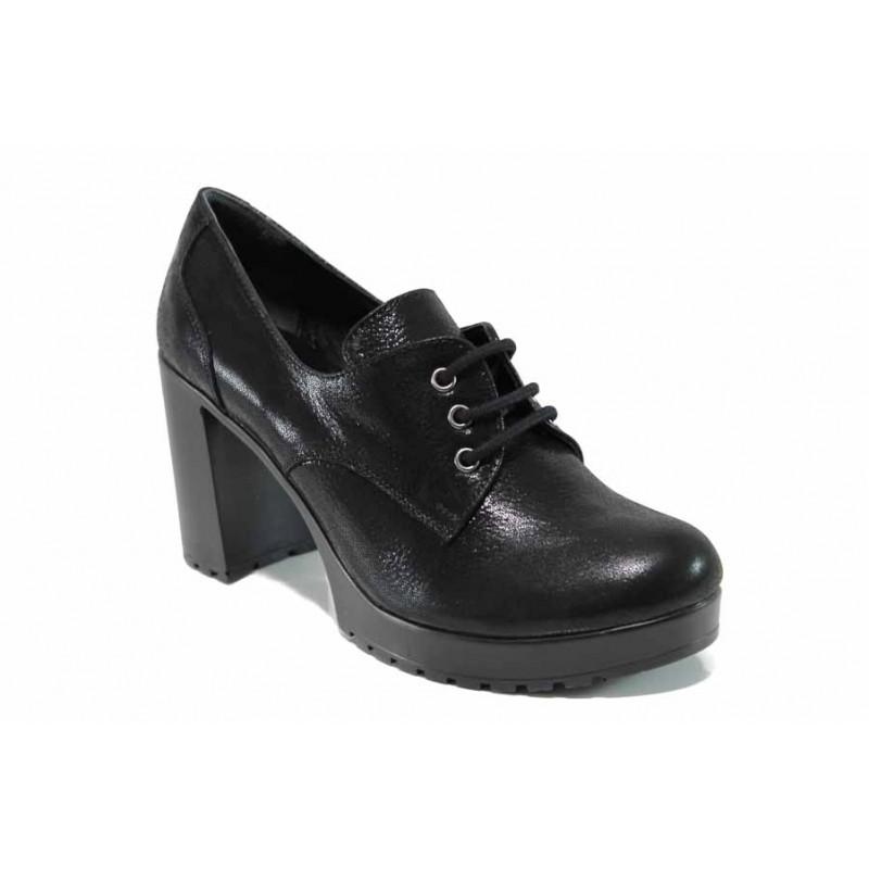 Дамски обувки от естествена кожа МИ 22-74 черен | Дамски обувки на висок ток | MES.BG