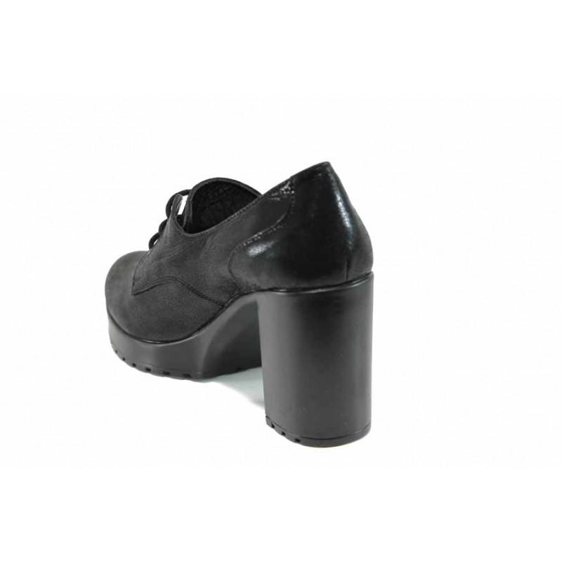 Дамски обувки от естествена кожа МИ 22-74 черен   Дамски обувки на висок ток   MES.BG