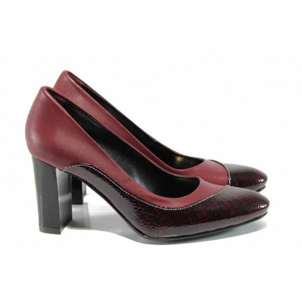 Дамски обувки от естествена кожа МИ 160 бордо | Дамски обувки на висок ток | MES.BG