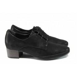 Анатомични дамски обувки от естествена кожа с връзки МИ 209 черен | Дамски обувки на среден ток | MES.BG