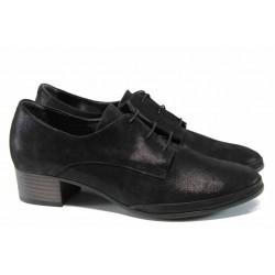 Анатомични дамски обувки от естествена кожа с връзки МИ 209 черен гигант| Дамски обувки на среден ток | MES.BG