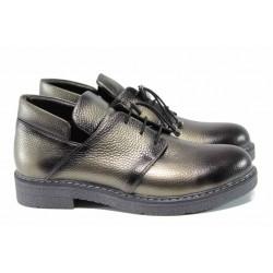 Анатомични дамски обувки от естествена кожа МИ 316 зелен | Равни дамски обувки | MES.BG