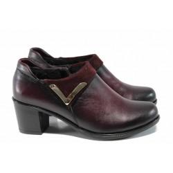 Анатомични дамски обувки от естествена кожа МИ 153 бордо | Дамски обувки на среден ток | MES.BG