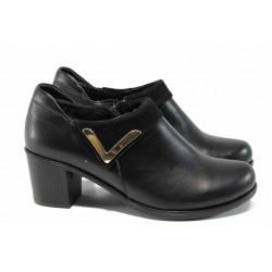 Анатомични дамски обувки от естествена кожа МИ 153 черен | Дамски обувки на среден ток | MES.BG