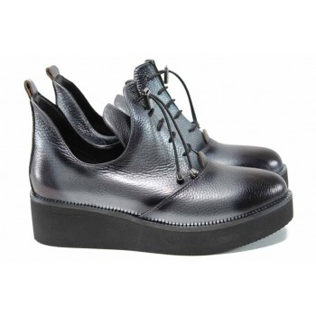 Анатомични дамски обувки от естествена кожа МИ 315 сив | Дамски обувки на платформа | MES.BG