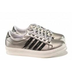 Дамски спортни обувки с връзки МИ 238 сребро | Дамски маратонки | MES.BG