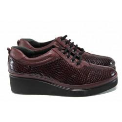 Дамски ортопедични обувки от естествена кожа МИ 019 бордо кроко | Дамски обувки на платформа | MES.BG