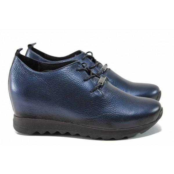Анатомични дамски обувки от естествена кожа МИ 97-100 син | Дамски обувки на платформа | MES.BG