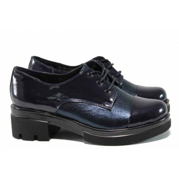 Анатомични дамски обувки от естествена кожа МИ 651-8710 син | Дамски обувки на среден ток | MES.BG