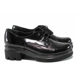 Анатомични дамски обувки от естествена кожа МИ 651-8710 черен | Дамски обувки на среден ток | MES.BG