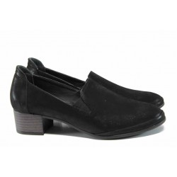 Анатомични дамски обувки от естествена кожа МИ 207 черен гигант | Дамски обувки на среден ток | MES.BG