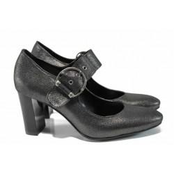 Дамски обувки от естествена кожа МИ 165-103 сив | Дамски обувки на висок ток | MES.BG