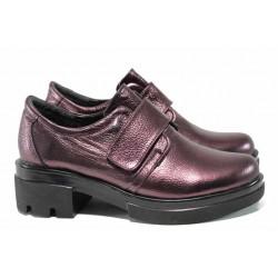 Анатомични дамски обувки от естествена кожа МИ 650-8710 бордо | Обувки на среден ток | MES.BG